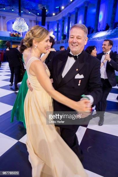 Andre Rupprechter with his wife during the Fete Imperiale 2018 on June 29 2018 in Vienna Austria