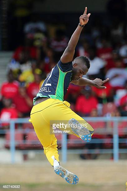 Andre Russel celebrates the wicket of Kevon O'Brien during a match between The Trinidad and Tobago Red Steel and Jamaica Tallawahs as part of the...