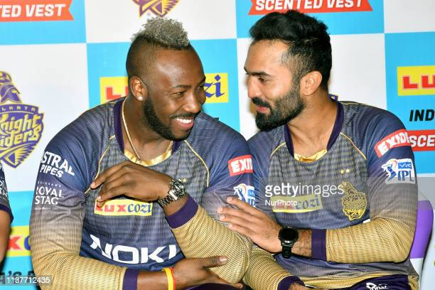 Andre Russell and Dinesh Karthik captain of Kolkata Knight Riders during LUX lunches India's first ever Scented Vest Range from Lux Cozi on April...