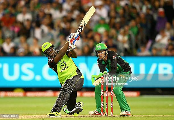 Andre Russell of the Thunder plays a shot during the Big Bash League final match between Melbourne Stars and the Sydney Thunder at Melbourne Cricket...