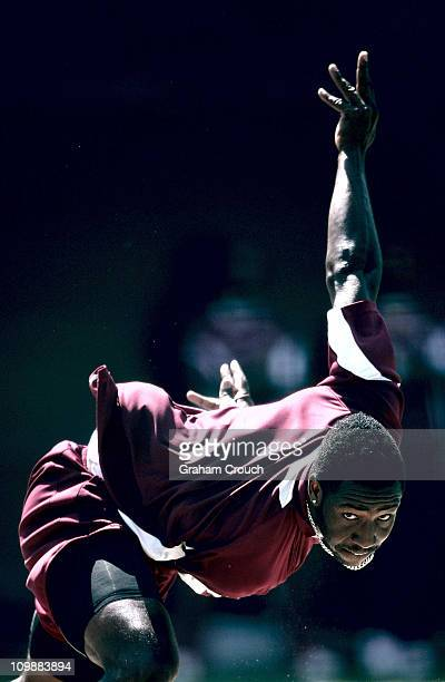 Andre Russell of the West Indies bowls in the nets ahead of the 2011 ICC World Cup Group B match between Ireland and the West Indies at Punjab...