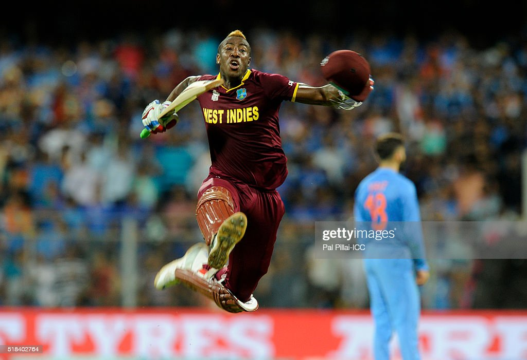 Andre Russell of the West Indies celebrates after winning the ICC World Twenty20 India 2016 Semi Final match between India and West Indies on March 31, 2016 in Mumbai, India.