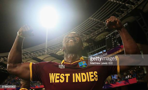 Andre Russell of the West Indies celebrates his teams win agasint India during the ICC World Twenty20 India 2016 SemiFinal match between West Indies...