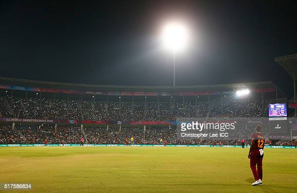 Andre Russell of the West Indies in the field as the crowd hold aloft their phones with their lights on during the ICC World Twenty20 India 2016...