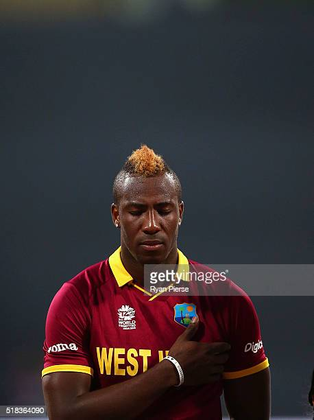 Andre Russell of the West Indies looks on during the anthems during the ICC World Twenty20 India 2016 Semi Final match between West Indies and India...