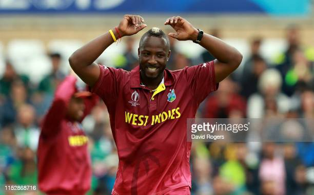 Andre Russell of the West Indies looks on during the Group Stage match of the ICC Cricket World Cup 2019 between the West Indies and Pakistan at...