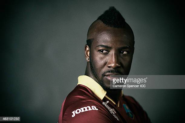 Andre Russell of the West Indies poses during the West Indies 2015 ICC Cricket World Cup Headshots Session at the Intercontinental on February 8 2015...