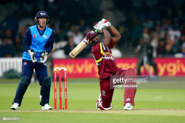 Andre Russell of West Indies bats during the T20 match between ICC World XI and West Indies at Lord's Cricket Ground on May 31 2018 in London England