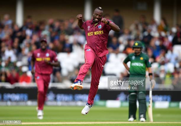 Andre Russell of West Indies celebrates after taking the wicket of Fakhar Zaman of Pakistan during the Group Stage match of the ICC Cricket World Cup...