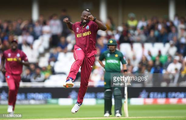 Andre Russell of West Indies celebrates as he gets Fakhar Zaman of Pakistan out during the Group Stage match of the ICC Cricket World Cup 2019...