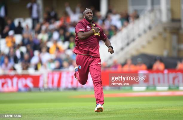 Andre Russell of West Indies celebrates as he gets Haris Sohail of Pakistan out during the Group Stage match of the ICC Cricket World Cup 2019...