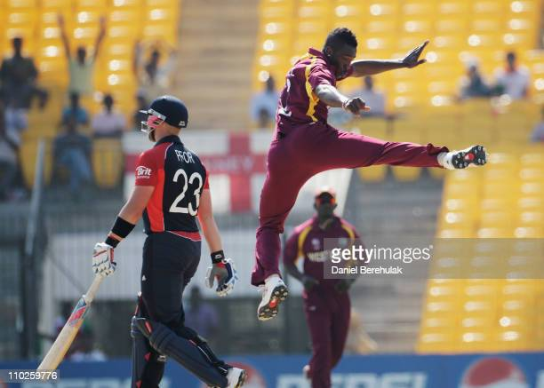 Andre Russell of West Indies celebrates bowling Matt Prior of England during the Group B ICC World Cup match between England and West Indies at M A...