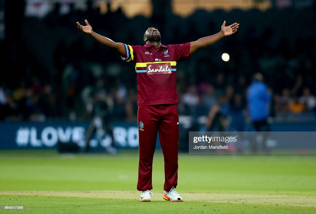 Andre Russell of West Indies celebrates dismisisng Sam Billings of ICC World XI during the T20 match between ICC World XI and West Indies at Lord's Cricket Ground on May 31, 2018 in London, England.