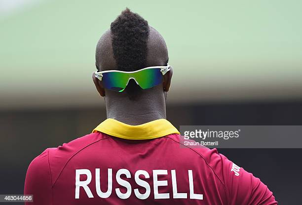 Andre Russell of West Indies during the ICC Cricket World Cup warm up match between England and the West Indies at Sydney Cricket Ground on February...