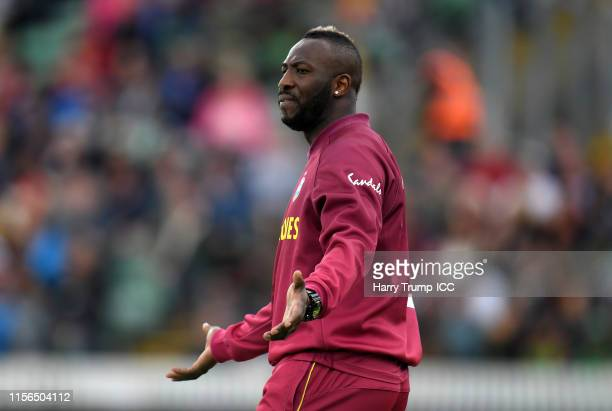 Andre Russell of West Indies reacts during the Group Stage match of the ICC Cricket World Cup 2019 between West Indies and Bangladesh at The County...