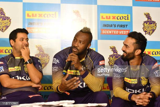 Andre Russell , Piyush Chawla and Dinesh Karthik captain of Kolkata Knight Riders during LUX lunches India's first ever Scented Vest Range from Lux...