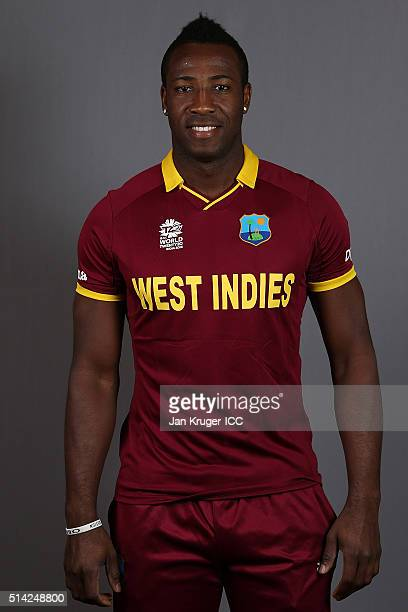 Andre Russell poses during the West Indies headshots session ahead of the ICC Twenty20 World Cup on March 8 2016 in Kolkata India