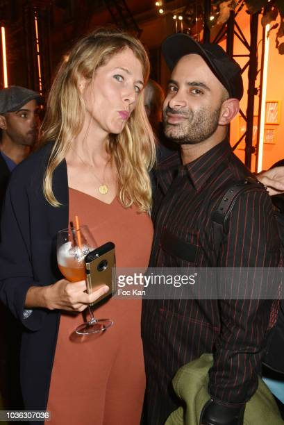 Andre S Delavie and Sophie Desprez from Warner Music attend during the Spritz Plazza Party at the 118 Warner on September 19 2018 in Paris France
