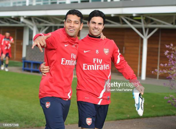 Andre Santos and Mikel Arteta of Arsenal before training on November 18, 2011 in London Colney, England.