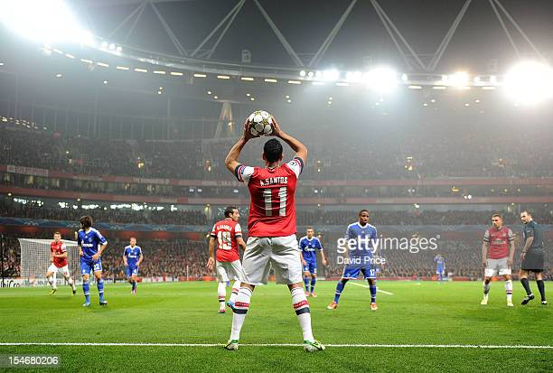 Andre Santos of Arsenal takes a throw in during the UEFA Champions League Group B match between Arsenal FC and FC Schalke 04 at Emirates Stadium on...