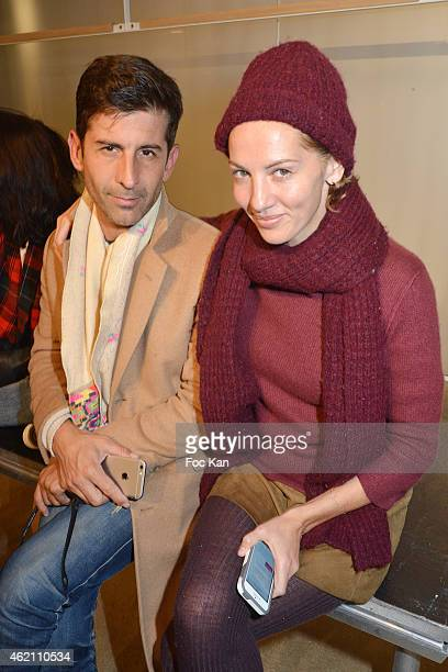 Andre Saraiva and Jennifer Eymere from Jalouse magazine attend the APC Menswear Fall/Winter 20152016 show as part of Paris Fashion Week on January 24...