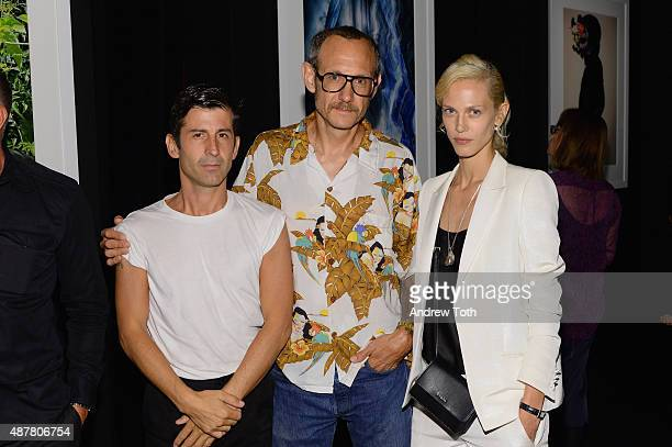 Andre Saraiva and Terry Richardson attend a private viewing and dinner for Art For Love 32 Photographers Interpret The Iconic Moncler Maya Jacket...