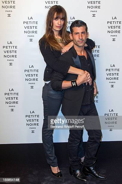 Andre Saraiva coowner of Paris famed nightclub 'Le Baron' and Caroline de Maigret attend 'La Petite Veste Noire' Book Launch Hosted By Karl Lagerfeld...