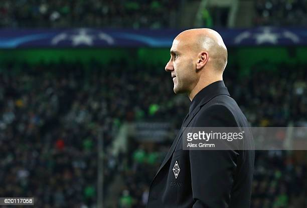 Andre Schubert head coach of Borussia Moenchengladbach during the UEFA Champions League Group C match between VfL Borussia Moenchengladbach and...