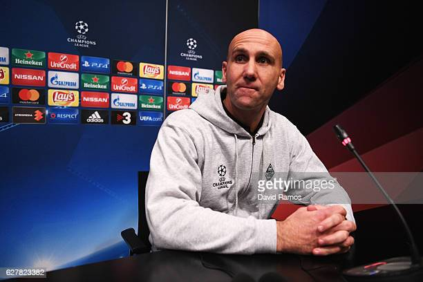 Andre Schubert head coach of Borussia Moenchengladbach looks on during a VfL Borussia Moenchengladbach press conference on the eve of their UEFA...