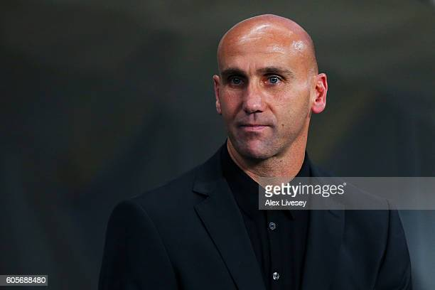 Andre Schubert head coach of Borussia Moenchengladbach looks on prior to the UEFA Champions League match between Manchester City FC and VfL Borussia...