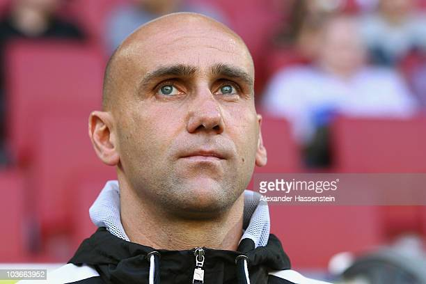 Andre Schubert, head coach of Paderborn looks on during the Second Bundesliga match between FC Augsburg and SC Paderborn at Impuls Arena on August...