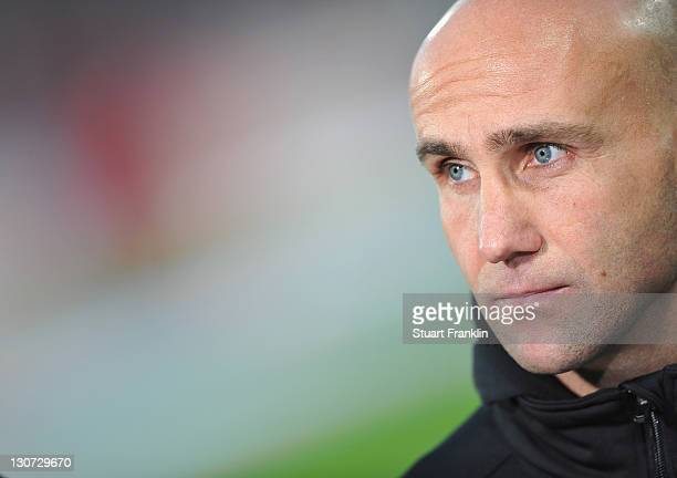 Andre Schubert, head coach of St. Pauli looks on during the Second Bundesliga match between 1. FC Union Berlin and FC St. Pauli at Stadion An der...