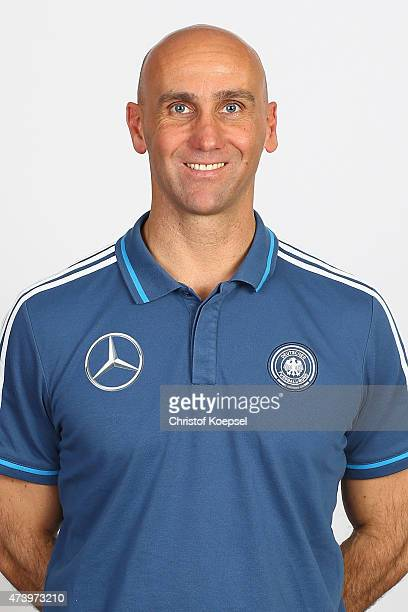Andre Schubert, national coach poses during the team presentation of the U15 Germany Team on May 19, 2015 in Holten, Netherlands.