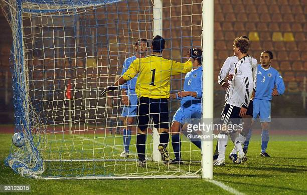 Andre Schuerle of Germany scores a goal during the UEFA U21 Championship match between San Marino and Germany at Olimpico stadium on November 17,...