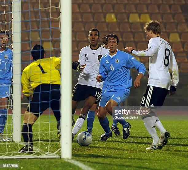 Andre Schuerle of Germany scores a goal during the UEFA Under 21 Championship match between San Marino and Germany at Olimpico stadium on November...