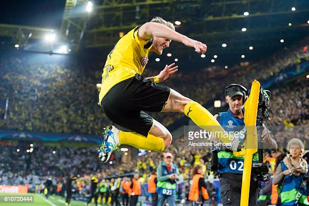 Andre Schuerrle of Borussia Dortmund celebrates after scoring the goal to the 22 during the UEFA Champions League First Qualifying Round 1st Leg...