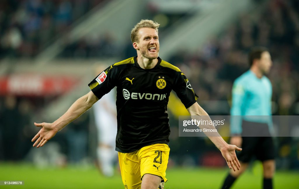 Andre Schuerrle of Borussia Dortmund celebrates scoring the goal to make it 2:3 during the Bundesliga match between 1. FC Koeln and Borussia Dortmund at the RheinEnergieStadion on February 02, 2018 in Cologne, Germany.