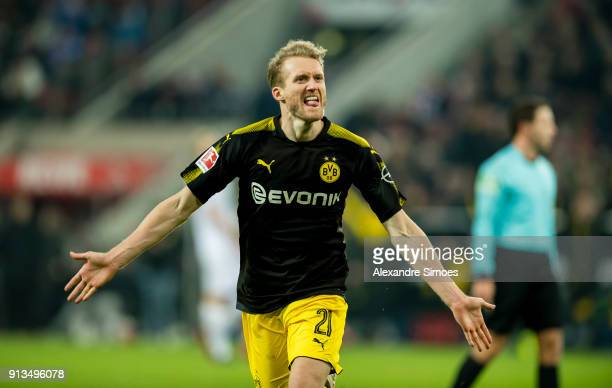 Andre Schuerrle of Borussia Dortmund celebrates scoring the goal to make it 23 during the Bundesliga match between 1 FC Koeln and Borussia Dortmund...