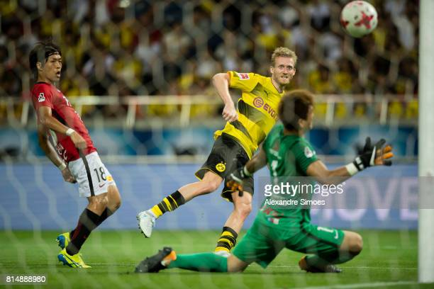 Andre Schuerrle of Borussia Dortmund scores the 3th goal during the preseason friendly match between Urawa Red Diamonds and Borussia Dortmund at...
