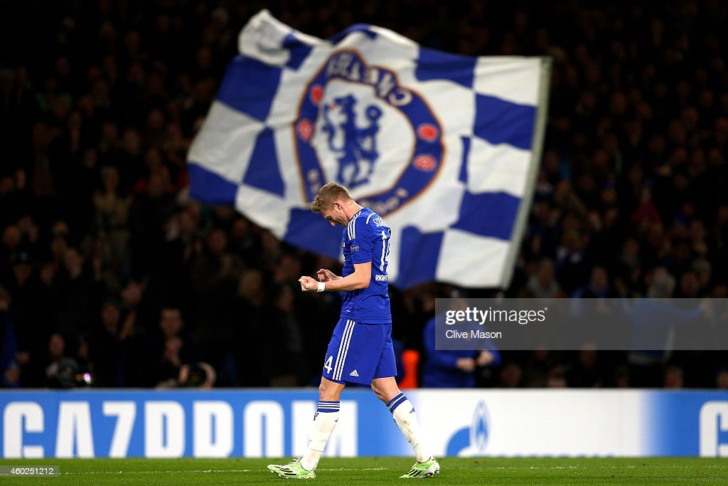 Andre Schuerrle of Chelsea celebrates after scoring his team's second goal during the UEFA Champions League group G match between Chelsea and Sporting Clube de Portugal at Stamford Bridge on December 10, 2014 in London, United Kingdom.