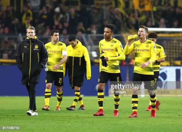 Andre Schuerrle of Dortmund Sokratis Papastathopoulos of Dortmund Nuri Sahin of Dortmund PierreEmerick Aubameyang of Dortmund Lukasz Piszczek of...