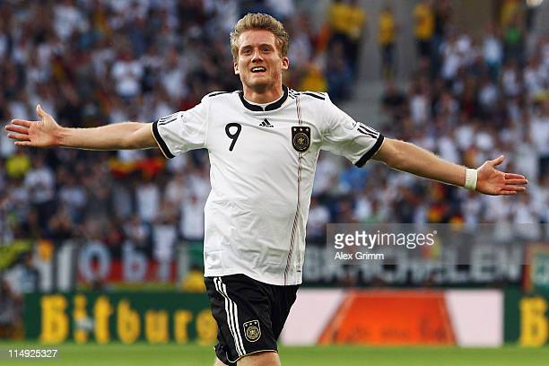Andre Schuerrle of Germany celebrates his team's second goal during the international friendly charity match between Germany and Uruguay at...