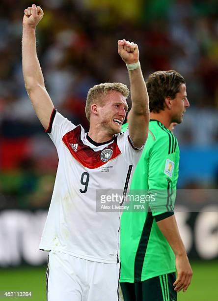 Andre Schuerrle of Germany celebrates the 10 win in the 2014 FIFA World Cup Brazil Final match between Germany and Argentina at Maracana on July 13...