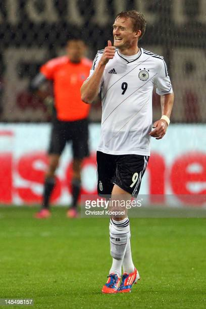 Andre Schuerrle of Germany celebrates the second goal during the International friendly match between Germany and Israel at Zentralstadion on May 31...