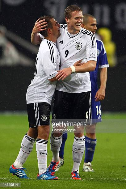 Andre Schuerrle of Germany celebrates the second goal with Philipp Lahm of Germany during the International friendly match between Germany and Israel...