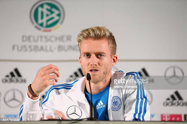 Andre Schuerrle of Germany during the DFB press conference at on September 6 2014 in Kamen Germany