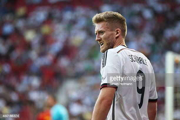 Andre Schuerrle of Germany reacts during the International Friendly match between Germany and Armenia at Coface Arena on June 6 2014 in Mainz Germany
