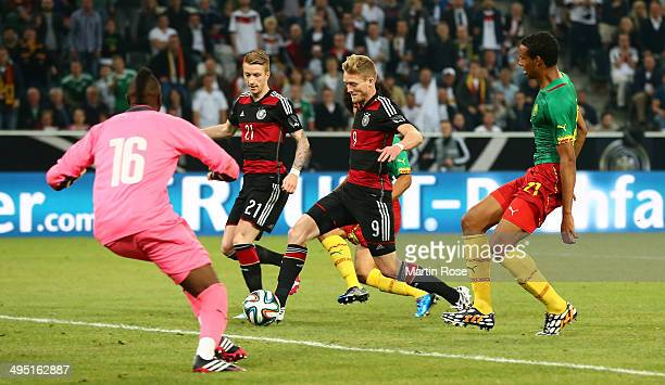 Andre Schuerrle of Germany scores his team's 2nd goal during the International Friendly Match between Germany and Cameroon at Borussia Park Stadium...