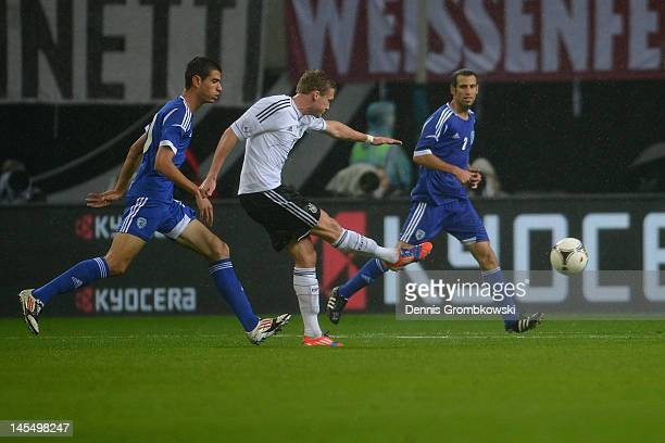 Andre Schuerrle of Germany scores his team's second goal during the International friendly match between Germany and Israel at Zentralstadion on May...