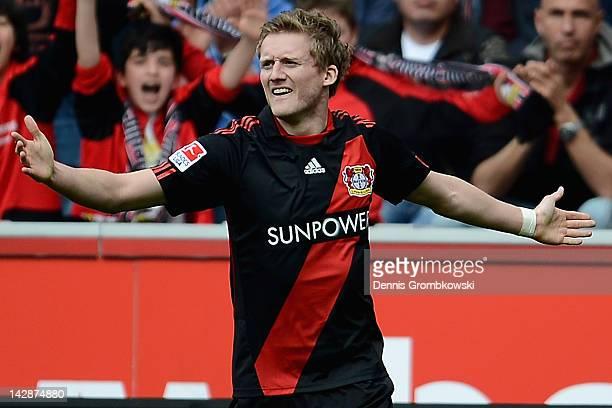 Andre Schuerrle of Leverkusen celebrates after scoring his team's opening goal during the Bundesliga match between Bayer 04 Leverkusen and Hertha BSC...